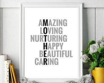 "Typography Art Printable ""Mother"" Poster – Gift for Your Mom, Printable Art Wall Decor, Inspirational Art Print *Digital Download DIY PRINT*"