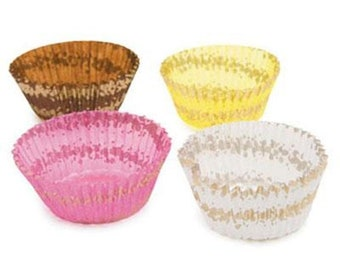 Assorted Pink, White, Yellow and Brown Mini Baking Cups Liners with Gold Spirals - 100 Count