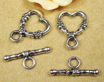 15pcs of Antique Silver Heart Shape Toggle Clasp Charm Pendants 14x19mm A105-5