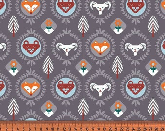 Woodland Animals in Grey Cotton Jersey by Lots