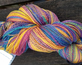 Hand Spun Yarn, Lace Weight, Multi Colored Barber Poling, Polwarth and Silk Blend, 2-Ply Yarn