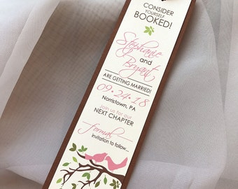 Spring Love Birds Branches and Leaves Wedding Save the Date Bookmarks... SAMPLE