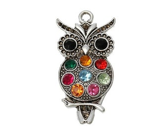 4 large antiqued silver OWL pendants and rhinestones