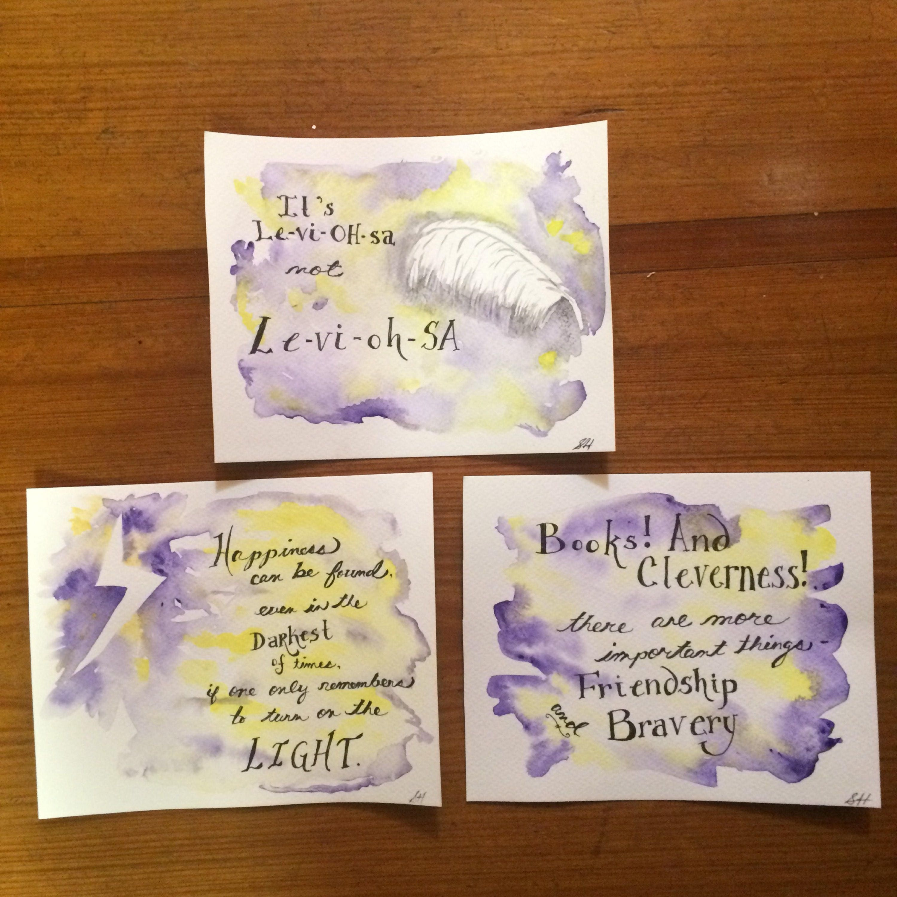 Harry Potter Book Quotes Original Harry Potter Inspired Quote Watercolor Painting Hand