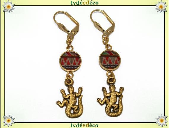 Brass salamander earrings orange green resin gift personalized gold 24 k birthday mother's day wedding thank you teacher