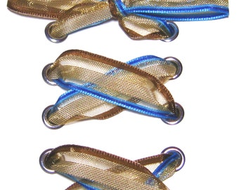 "THE SHOELACES SHOP-Striped Organza Ribbon Shoelaces, Ribbon Shoe Laces, Brown Shoelaces, Blue Shoelaces, Organza Shoelaces, ""Surf & Turf"""