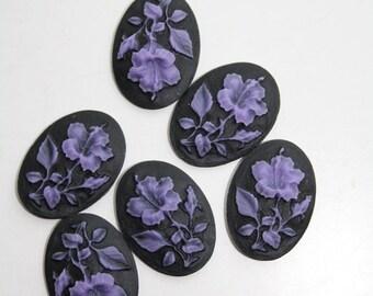 6 Unset Flower Cameos - Purple on Black - Victorian Flower