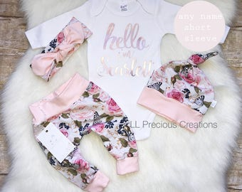 Baby Girl Coming Home Outfit Organic Hello World Outfit Newborn Girl Outfit Personalized Outfit Baby Girl Clothes Pink Floral Euro Print
