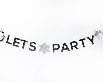 Arctic Party - Party Banner | Let's Party | Polar Bear, Penguin | Black Glitter | Arctic Theme | Kids Birthday Party | Winter Party