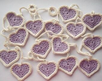 crochet heart garland, lilac heart garland, garland, decoration, heart decororation, nursery decoration, crochet hearts, bunting.