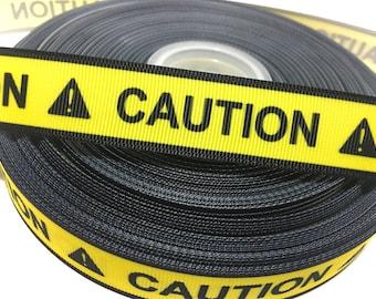 7/8 Caution Ribbon, Caution Grosgrain Ribbon, Crime Scene Ribbon