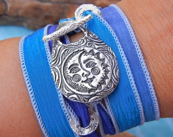 Moon Jewelry, Moon Bracelet, Moon Silk Wrap Bracelet, Sun and Moon Jewelry, STERLING SILVER Sun and Moon Jewelry Sun and Moon Wrap Bracelet