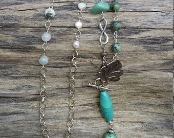 Boho silver, turquoise, pearl and agate necklace and earring set.