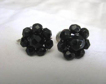 Classic CORO vintage black beaded flower screw back earrings