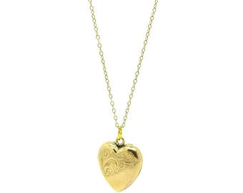 Vintage 1930s Locket | Romantic Jewelry For Her | Gold Heart Locket | Vintage Necklace | Heart Necklace | 1930s Locket | Love Heart Pendant