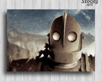 iron giant print robot painting boys room decor