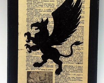 Book Page Art, Griffin, Hand Drawn, Bibliophile, Up-cycled Book Page, Home Decor, Geeky Book Page Art, OOAK