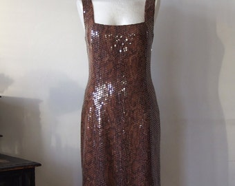 Sleevless golden brown evening dress, fitted party dress, snake skin print dress with sequins, pencil dress, sexy party dress, Godess dress