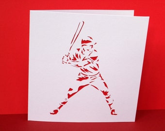 Baseball Card - Baseball Player - Sport - Handmade Greeting Card for a Man, Husband, Son, Boyfriend - Paper Cut - Personalised - Birthday