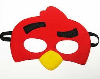 Angry Bird felt mask - red - bird costume for kids teens adults - gift for boys girls - soft felt Dress up play accessory Theatre roleplay