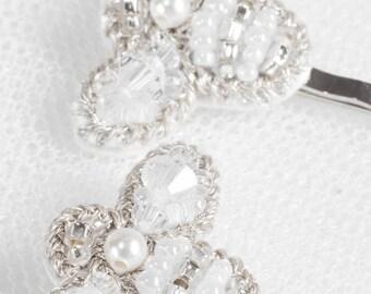 HONEY Pins Set, Silver Crystal Bumble Bee Hair Pin, Bridal Bridesmaids Gift (#301)