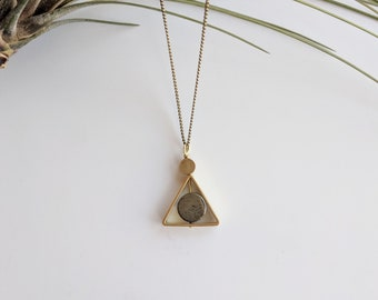 Pyrite and Brass Necklace - pyrite necklace - triangle necklace - geometric necklace - boho necklace - triangle pendant