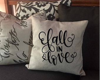 Fall In Love - Rustic Pillow Cover - Decorative Pillow Cover