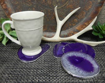 Agate Slices Large Coaster Size - Silver Electroplated Edges - Pretty Purple - SET of 4 - Home Wedding Decor (RK2B11-03)