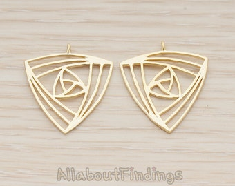 PDT1210-MG // Matte Gold Plated Ancient Geometric Triangle Pendant, 2 Pc