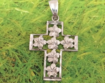 Cross Pendant, Plumeria Pendant, 14KT White Gold Plumeria Flower Cross Pendant, P5189