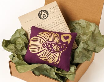 Royal Betta Fish Mini Pillow - Project Box - DIY Sewing Kit - Do It Yourself Project - Pillow Craft Kit