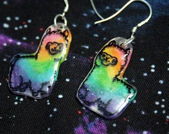 Rainbow Glitter Kawaii Alpaca Earrings