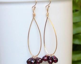 Garnet Hoops Earrings, You Choose Size, Gold or Silver Lightweight Hoops, Teardrop Gold Hoops, Gemstone Hoops, Free Shipping