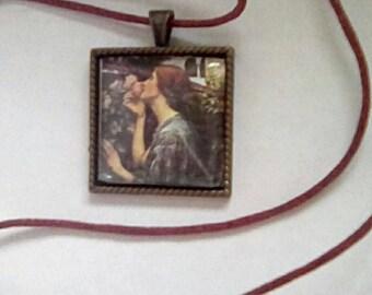 Necklace Pre Raphaelite style square cabochon copper tone