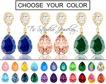 """CHOOSE YOUR COLOR Pear Shaped Crystal Bridesmaid Earrings - """"Maggie"""" - Gold"""