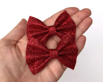 Red Glitter Felt Pigtail Hair Bow Set // Piggie Bows Hair Clips // Pigtail Bows Mini Bows Baby Toddler Bow Set Valentines Day
