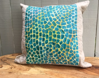 """Alma Thomas Inspired Pillow, Decorative Pillow, Throw Pillow 20"""" x 20"""", Hand-Painted Pillow Cover, Includes Insert, Ready to Ship"""