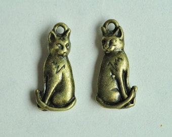 10pcs Antique Bronze Cat Charms Double Sided 22x10mm MM910