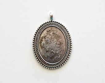 Silver Cabochon Setting, Antique Silver, 38x28mm Setting, 2 Pieces, Cameo Setting, Tray Setting, Bezel Setting, Oval Setting