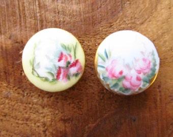 Victorian Porcelain Shirt Collar Stud Buttons - Floral Collar Buttons