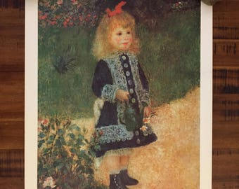 """Girl With The Watering Can by Renoir Vintage Print with Original """"Paint-It-Yourself Art Program"""" Set Shipping Tube/Measures 20.5"""" Wx16.5"""" H"""