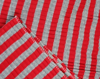 Two Yards Striped Ribbed Knit Red and Gray Fabric, Two Yards One Way Stretch Knit Striped Fabric, Quiltsy Destash