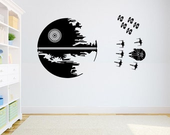 Death Star Wall Decal Star Wars Endor Battle X Wing Fighters Sticker Battle Decor X Wing Fighters Pattern Wall Decal