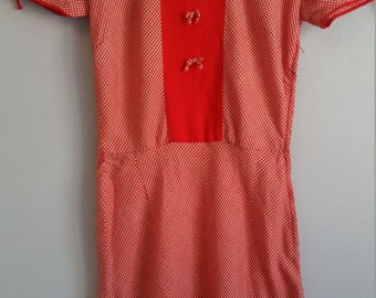 1930s/1940s red wool gingham dress