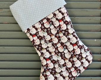 Christmas stocking Snowman and dots Santa sock Winter Holiday Decor