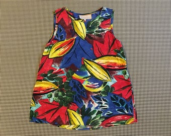 1990's, impressionist, fruit print, rayon, tank top, Women's size Small