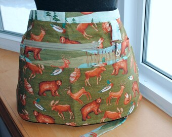 Handmade Vendor Apron  Green Brown Forest Animals Utility Craft Farmers Market Teacher