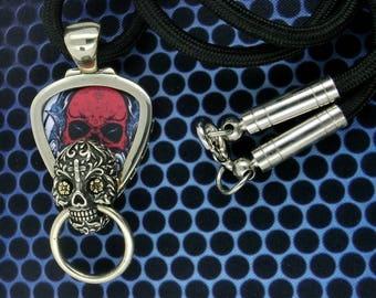 Sugar Skull Guitar Pick  Pendant Holder Necklace, Free Shipping