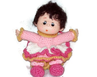 Crochet Yarn Doll  Made With Vintage Head & Hands Brunette Hair Pink Dress