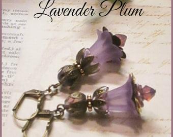 LAVENDER PLUM Lucite Lily Flower Earrings, Victorian Earrings, Purple Flower Earrings, Bridesmaid Earrings, Handmade Earrings, Ravengirl
